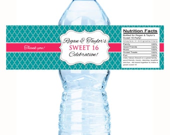 30 Monogram Quatrefoil Sweet 16 Water Bottle Labels and 36 Mint Tins Set - Sweet 16 Birthday Favors