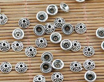150pcs tibetan silver tone 6mm bead cap EF1704
