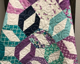 Handmade Crib Quilt - Baby Girl Quilt - Pieced Quilt - Purple/Lilac/Navy/Aqua - 35.5 X 46.5 inches