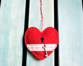 Heart ornament felt, handmade, red heart, Home sweet home, country style, new home gift, Wedding, Christmas, Birthday gift, country chic