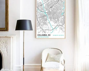 Columbia SC City Map Print, Scandinavian Style Map Print, Custom Map Print, Housewarming, Graduation Gift, Map Print, Street Map, Wall Art