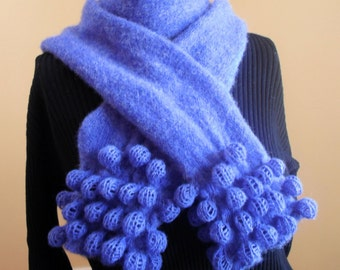 Blue Bobble Lace Felted Scarf