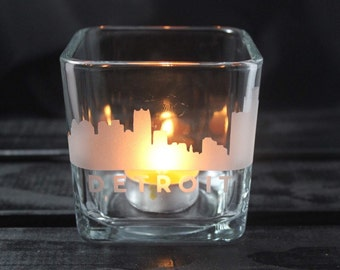 Detroit Skyline Candle Holder - DET - Michigan Glassware - City Skyline - Etched Glassware - Gifts - Gift Ideas - Pure Michigan