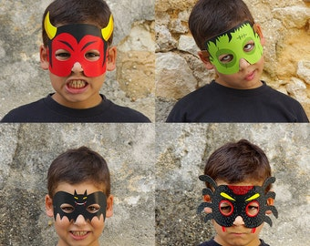 8 Paper Masks - Kids Halloween Costume - Bat, Devil, Mummy, Frankenstein, Owl, Spider, Cat, Pumpkin - Printable Masks