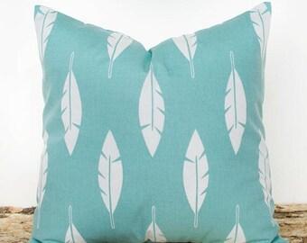 SALE ENDS SOON Teal Feather Pillowcase, Throw Pillow Covers, Feather Pillow Cover, Teal and White, Southwestern Decor Cushions, Pillows
