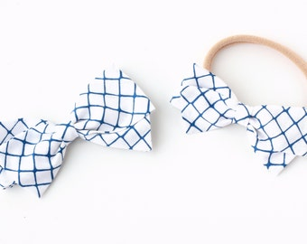 Blue and White Bow - Lattice Hair Bow - Fabric Hair Bows for Girls - Nylon Headbands or Hair Clips for Girls