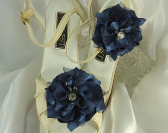 Wedding Accessories, Blue Shoe Clips, Charmeuse Shoe Clips, Flower Shoe Clips, REX16-203SC
