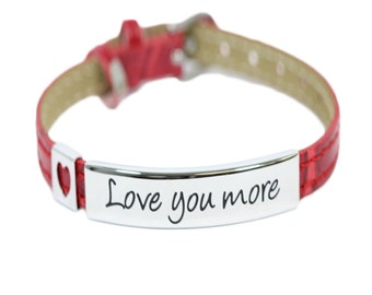 Love Your More Faux Red Leather Bracelet