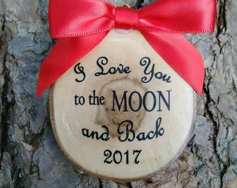 I love you to the moon and back Christmas ornament gift country rustic personalize present