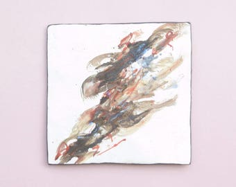 Abstract Ceramic Wall Tile Contemporary Clay Wall Hanging Modern Pottery Wall Decor Earth Tone Home Decor Fine Ceramic Art