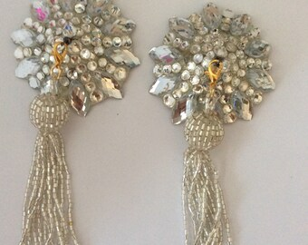 Silver tone pasties on silver base with silver removable beaded tassel