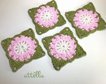 Pink flowers Coasters / crochet decoration