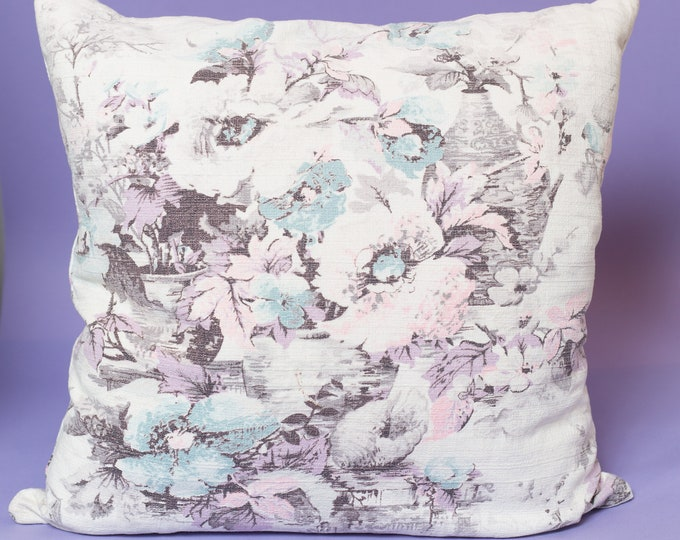 Vintage Floral Pillow / 16x16 Pastel Purple Decorative Throw Pillow