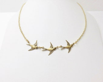 3 Little Birds Necklace - Gold Bird Necklace, Gold Bird Jewelry, 3 Sparrows Necklace, Bohemian Jewelry, Gift For Mom, Mother of 3 Necklace