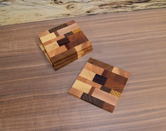 Multi-Species Square Endgrain Wooden Coasters