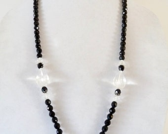 Jet Black Glass Necklace Vintage Long Beaded Necklace Large Clear Glass Fluted Beads from TreasuresOfGrace