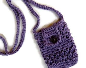Crocheted small purse for iphone/smartphone with cross-body strap in purple- iphone cardigan