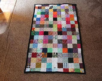 Cot Size Scrappy Patchwork Quilt - Custom Made to Order - Cot Quilts