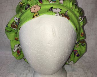 Peanuts Easter Themed Bouffant Style Scrub Hat