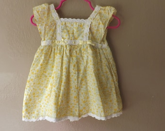 Baby Girls Dress Dresses, Toddler Girls Dress, Yellow, Prairie, Boho, Toddler, Sundress, Vintage Kids Clothes, Vintage Dresses