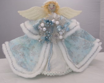 Winter Blue Tree Topper Angel