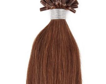 22inch 100grs,100s,Nail (U) Tip Human Hair Extensions 6 Medium Chestnut Brown