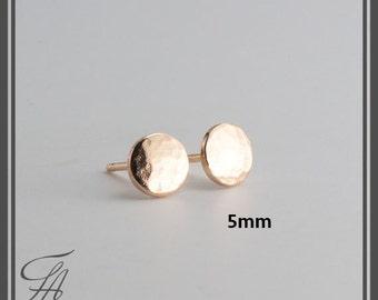 5mm Hammered Studs, Minimalist Earrings, Flat Disc Earrings, Dot Earrings, Post Earrings, Stud Earrings, Gold Earrings, Handmade Earrings