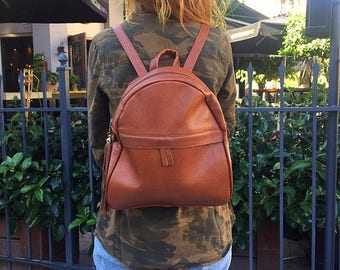 College Backpack, Leather Rucksack, Everyday Backpack, School Bag, Made in Greece from Full Grain Leather, LARGE.