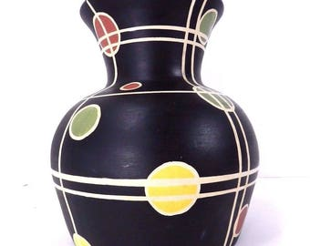 Vintage Modernist Atomic Black Art Retro Space Theme Ceramic Vase
