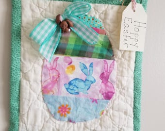Green Egg Wall hanging/Easter Decor/Repurposed Vintage Quilt