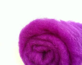 Needle felting wool, 1 oz, theatre - bright eggplant.  Maori wool blend of coopworth and corriedale. Purple needle felting wool.
