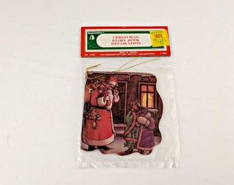 New Old Stock Commodore Story Book Ornament - Vintage - Santa