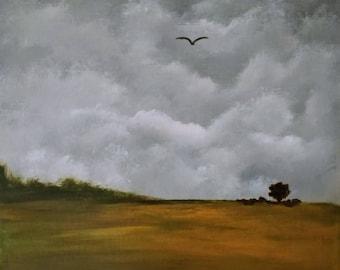 12 x 12 acrylic landscape stormy sky