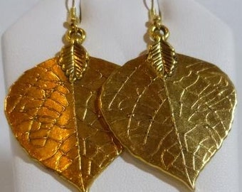 Magnificent Magnolia Leaf Earrings made in brass with French hook ear wires
