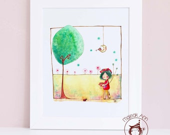 "Dear ladybug how about a tea? - 8"" x 10"" Fine Art Print - Nursery wall art - child decor - baby girl room - kids decor ladybug illustration"