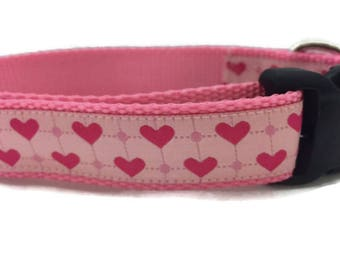 Valentine Dog Collar, Plaid Hearts, 1 inch wide, adjustable, quick release, metal buckle, chain, martingale, hybrid, nylon