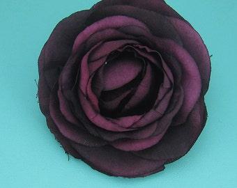 Eggplant Plum Rannunculus wedding hair flower clip, wedding hair accessories, wedding flower clip, hair flower clip, ivory rose flower clip
