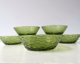 Mid Century Modern Bowls - 6 Anchor Hocking Soreno Dessert Bowls - Cereal Bowls - Salad Bowls - Avocado Green -
