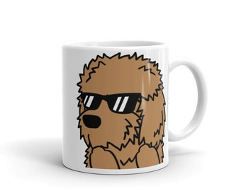 Sunglasses Goldendoodle Mug, Funny Goldendoodle Gifts, Cute Doodle Dog Coffee Cup