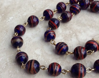 Vintage Galaxy Swirl Red Blue Glass Bead Matinee Length Necklace 24""