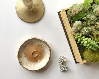WHITE DISTRESSED // Handmade Polymer Clay Jewelry Dish, Ring Dish, Trinket Dish