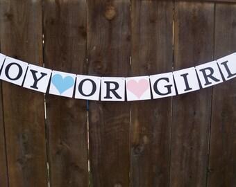 Boy Or Girl? Banner - Gender Reveal Banner - Baby Shower Banner - Choose Your Colors
