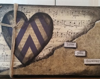 Pallet, heart, knotted twine, sheet music, love, mixed media