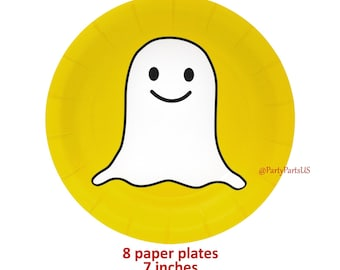social media graduation party, cyber school, internet theme, snap ghost dessert plates, symbols, online, tweens, teens birthday, chat, app