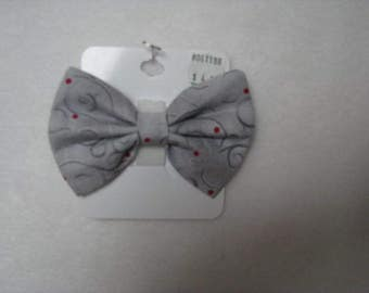 Custom Made Gray with Gray Swirls and Red Dots  Dog Bow Tie, Dog Collar, Pet Bow Tie, Cat Bow Tie, Rabbit Bow Tie, Pig Bow Tie