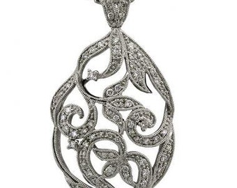 Flower Necklace In 18k White Gold With Milgrain Decoration And Diamond Accents