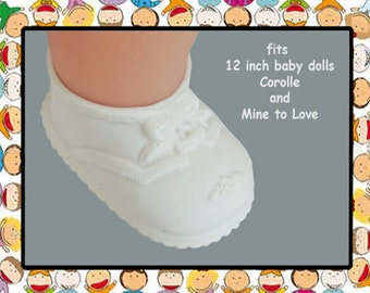 Vintage White Rubber Shoes for 12 inch baby doll, Mine to Love 12, Corolle Calin 12 inch