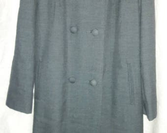 Vintage Int'l Ladies Garment Workers Union Blue 100% Wool  Coat USA - Sable Collar