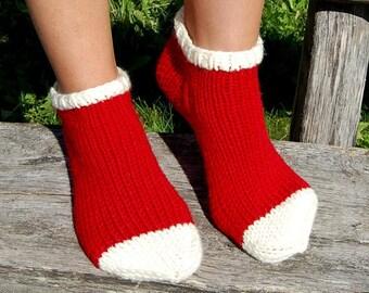 Hand Knit Slippers Socks, Christmas Socks, Wool Slipper Boots, Bed Socks, Knit Indoor Clogs Socks for Home, Indoor clogs