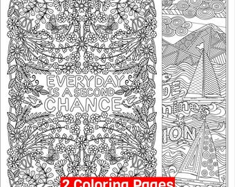 2 Printable Coloring Pages.  'Everyday is a Second Chance' and 'Your Attitude Determines your Direction' Coloring Pages for Grown-ups